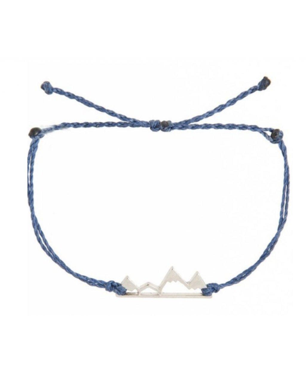 Jemný provázkový náramek modrý s horami