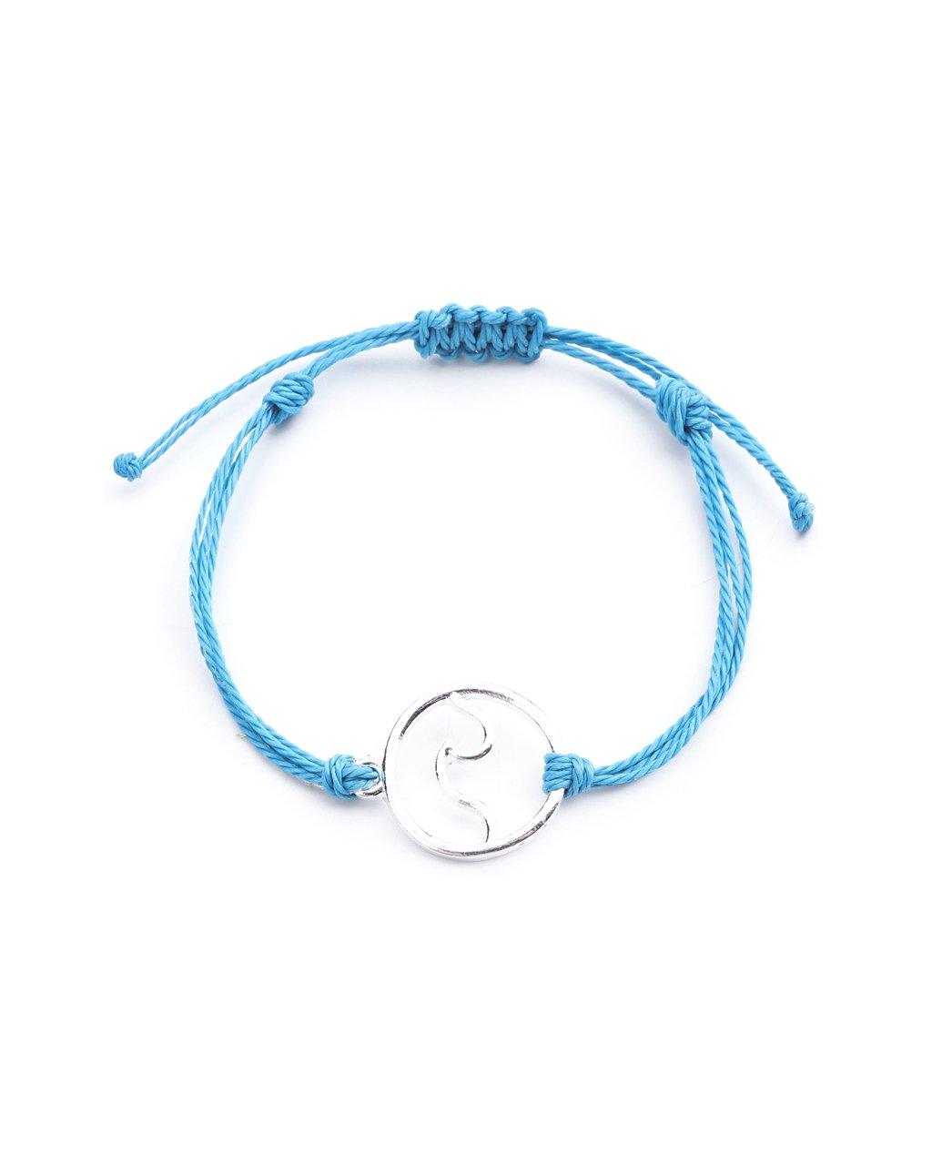 Jemný provázkový náramek modrý a mořská vlnka