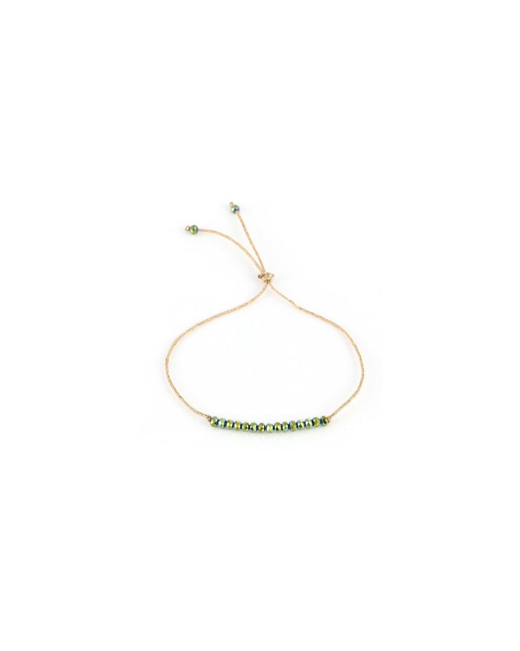 Jemný provázkový náramek ze semínkových korálků - zelenoměděná