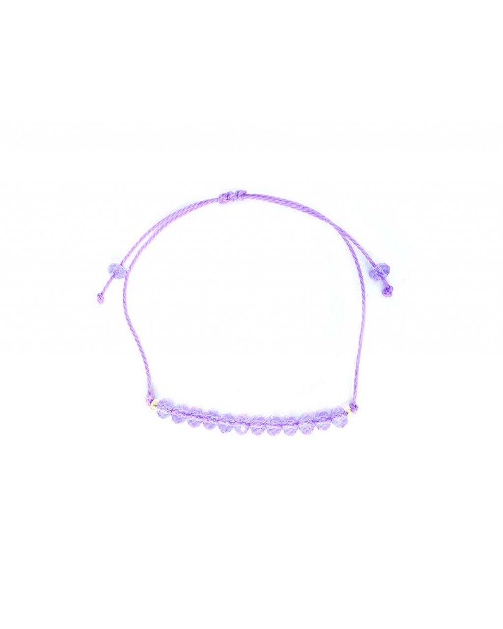 Jemný provázkový náramek ze sekaných korálků - fialový