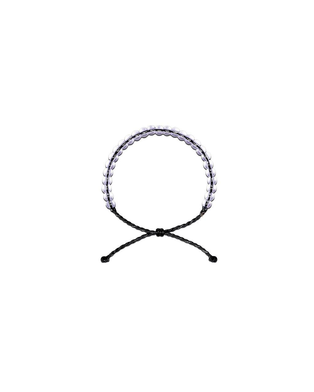 Jemný provázkový náramek s korálky čirého křišťálu - černý
