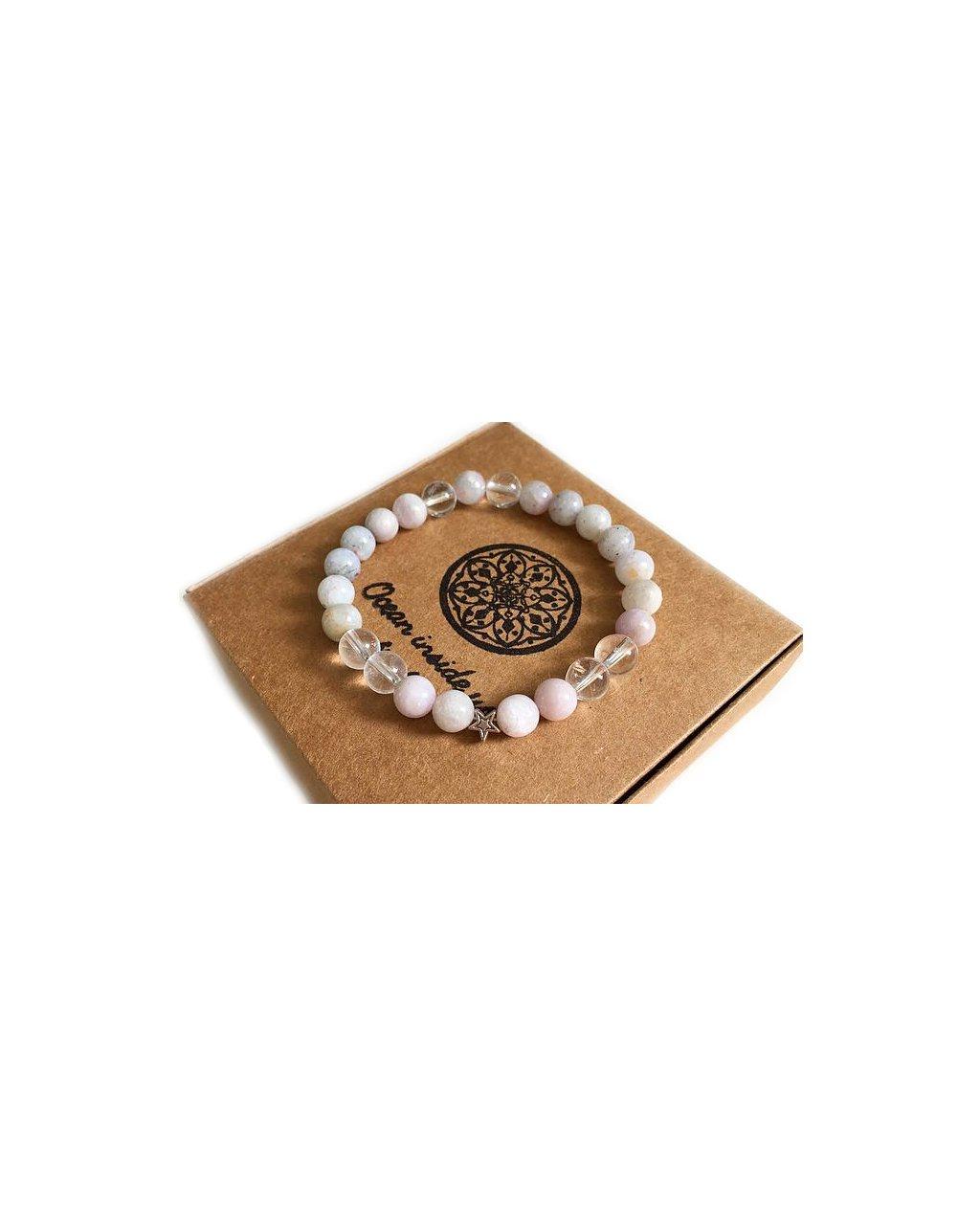 Minerální náramek Vzácný jemný kunzit s hvězdičkou
