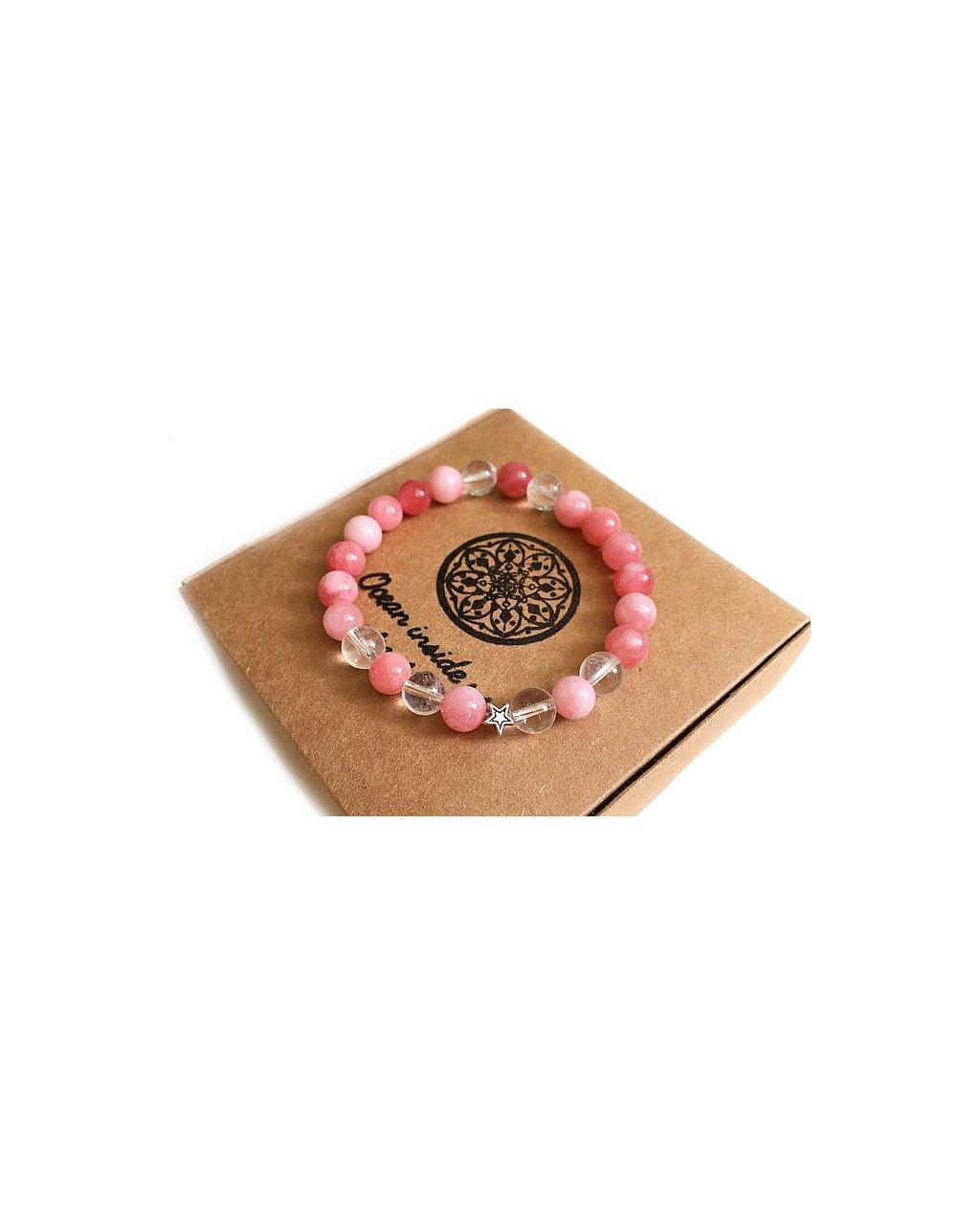 Minerální náramek Jemnost vzácného růžového opálu s hvězdičkou