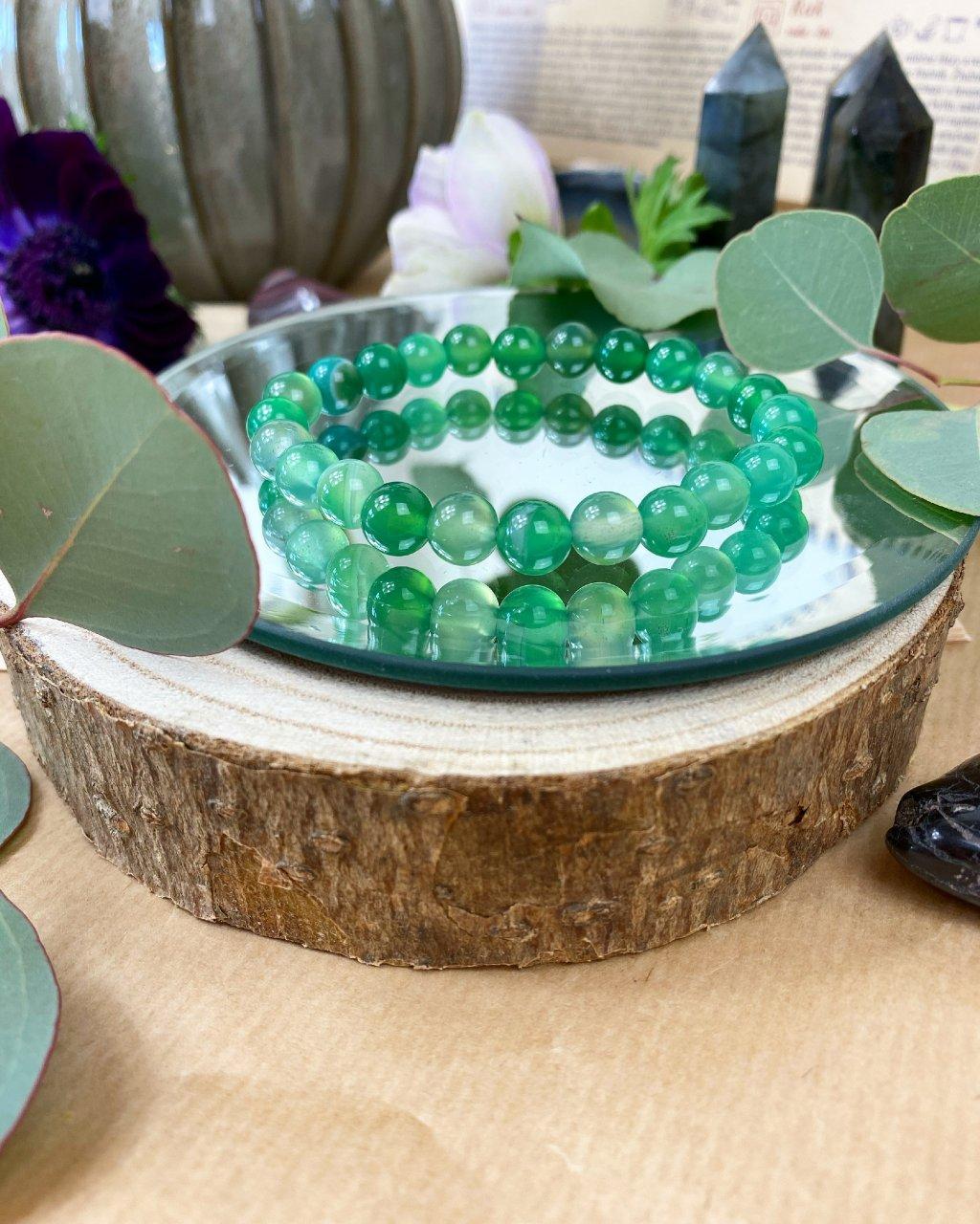Náramek z minerálu achát zelený