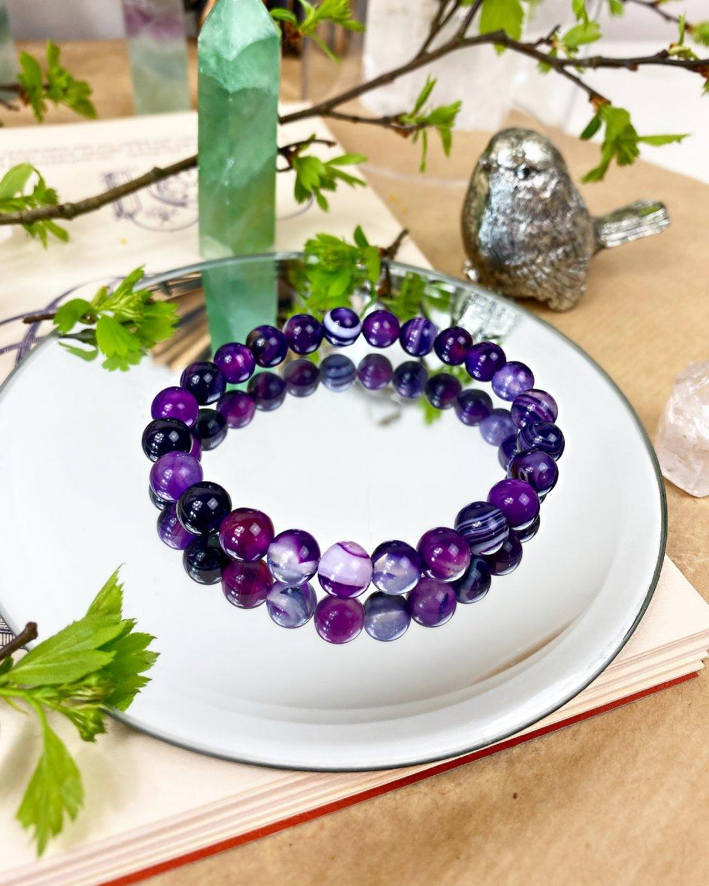 Náramek z minerálu achát fialový