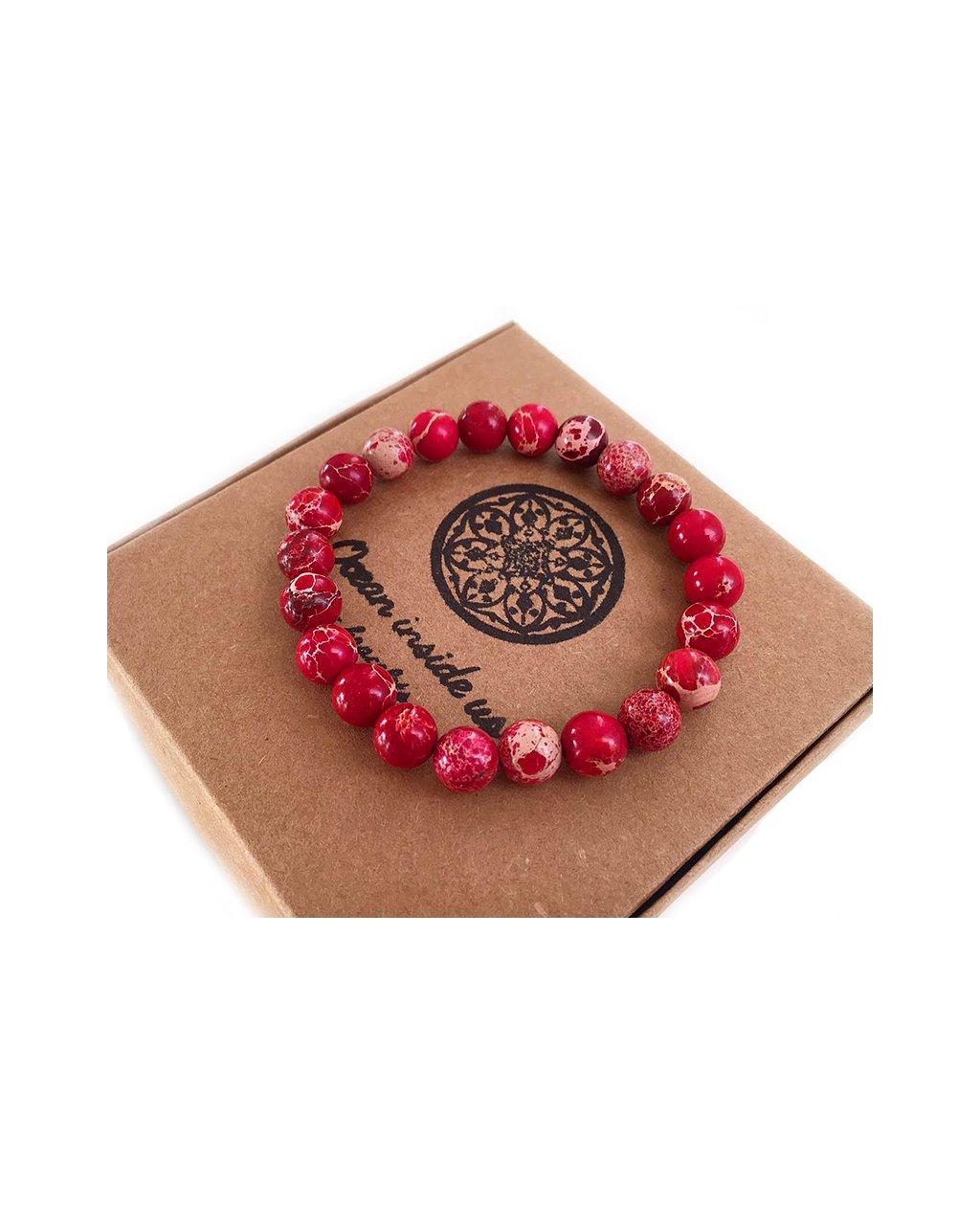 Náramek z minerálu jaspis červený