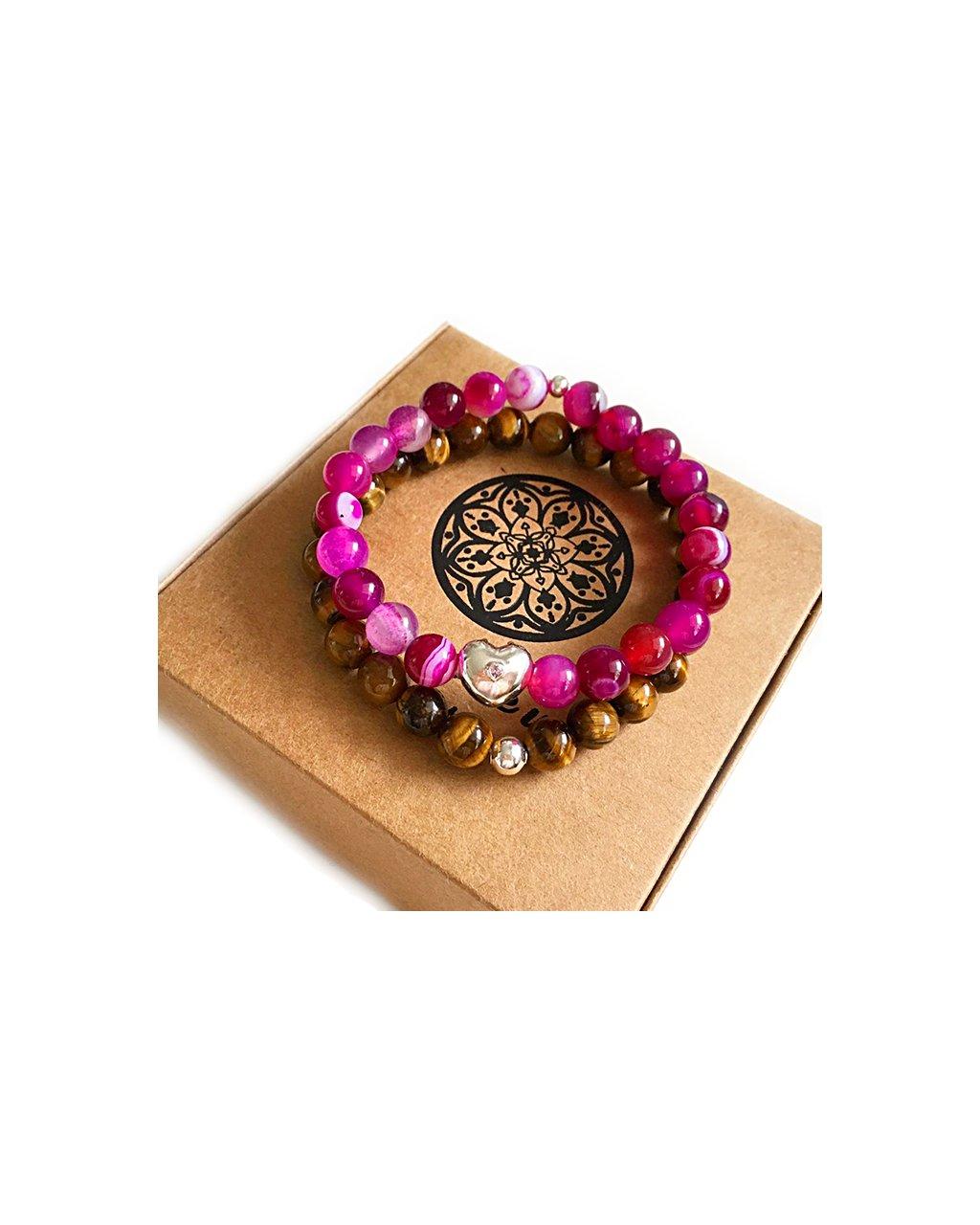 Náramky pro páry tygří oko a růžový jadeit s Pandora srdíčkem