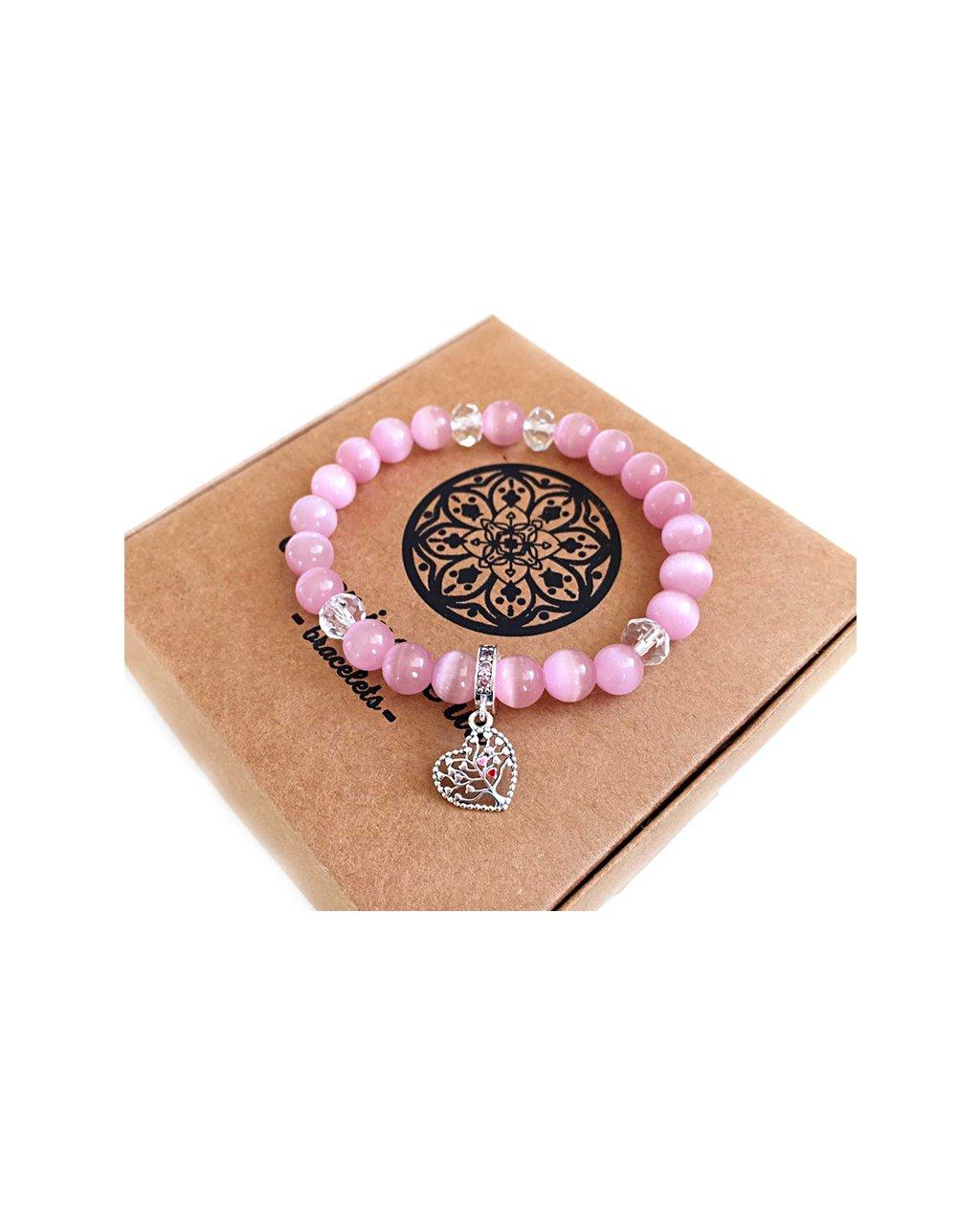 Náramek z minerálu růžový opál a srdíčko se stromem života