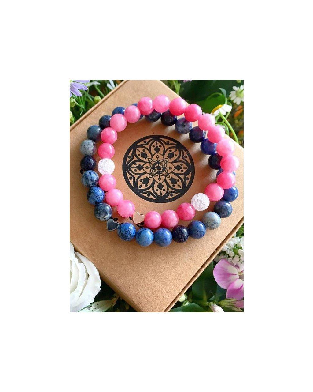 Náramky pro páry srdce s růžovým jadeitem a modrým sodalitem