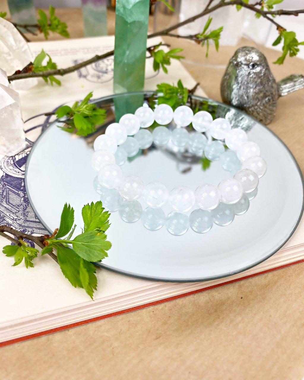 Náramek z minerálu jadeit sněžný - 10mm