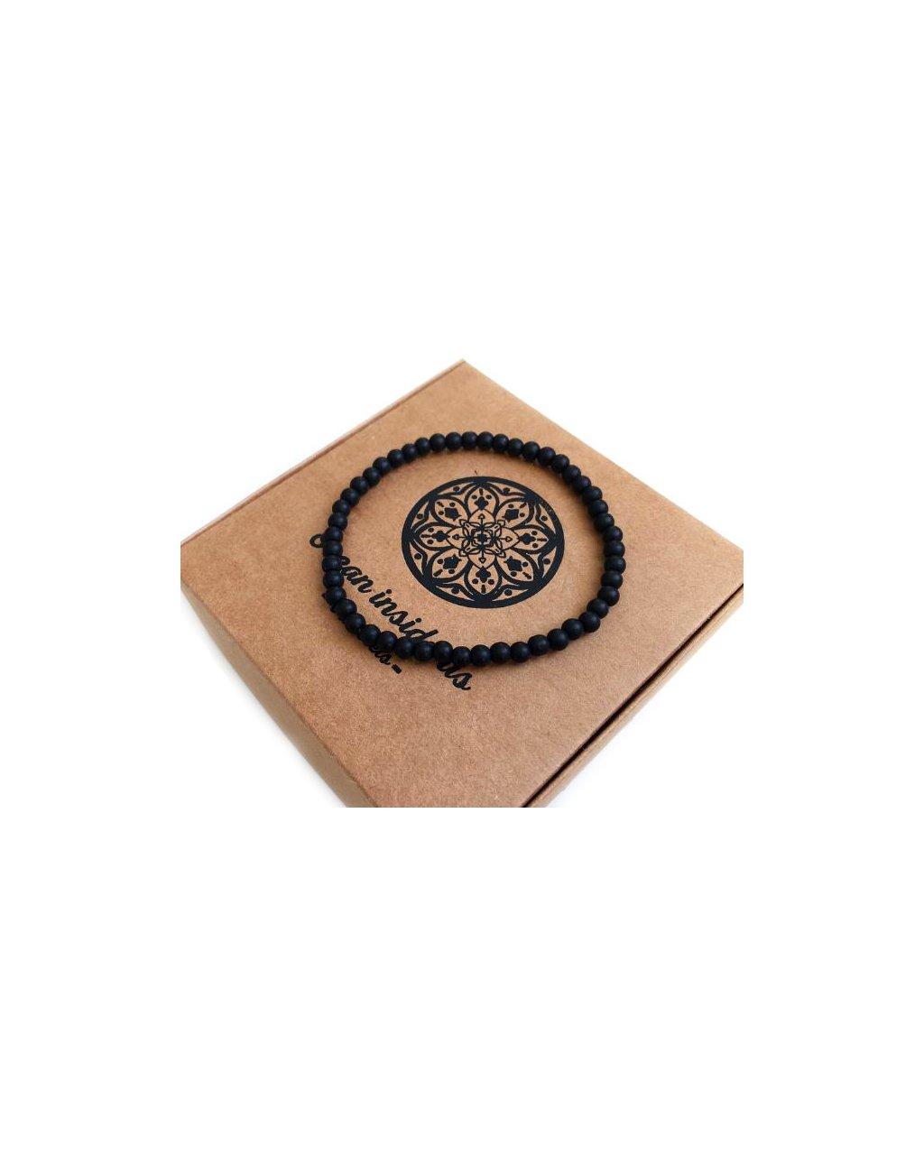 Pánský jemný náramek z minerálních kamenů matný onyx