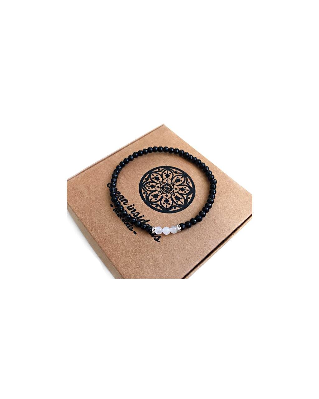 Pánský jemný náramek z minerálních kamenů lesklý onyx a jadeit bílý