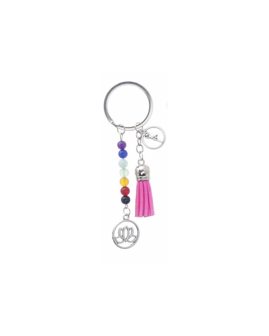 Čakrový přívěsek na klíče či batoh růžový