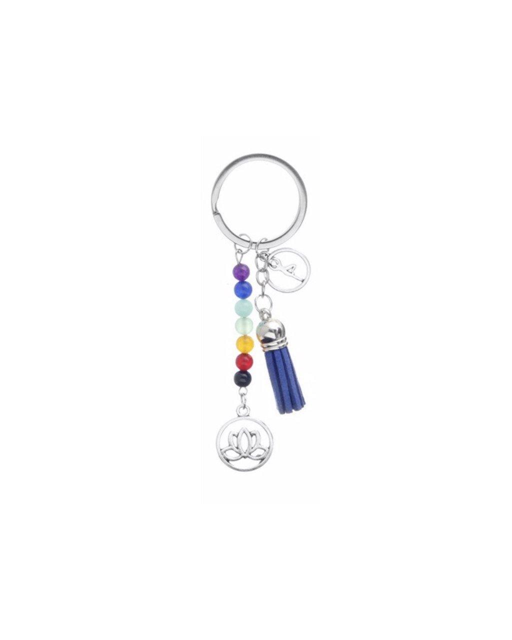 Čakrový přívěsek na klíče či batoh modrý