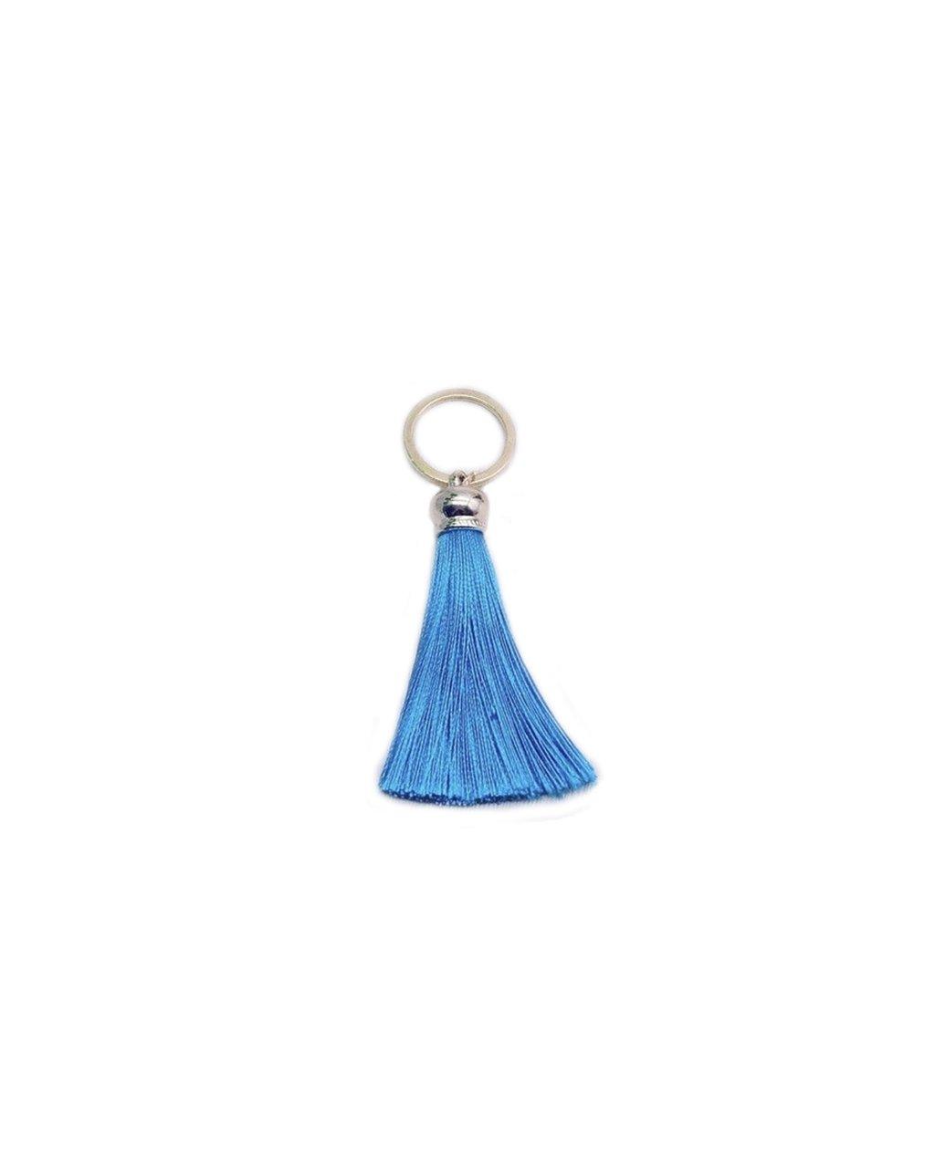 Přívěšek na klíče bohémský modrý střapec