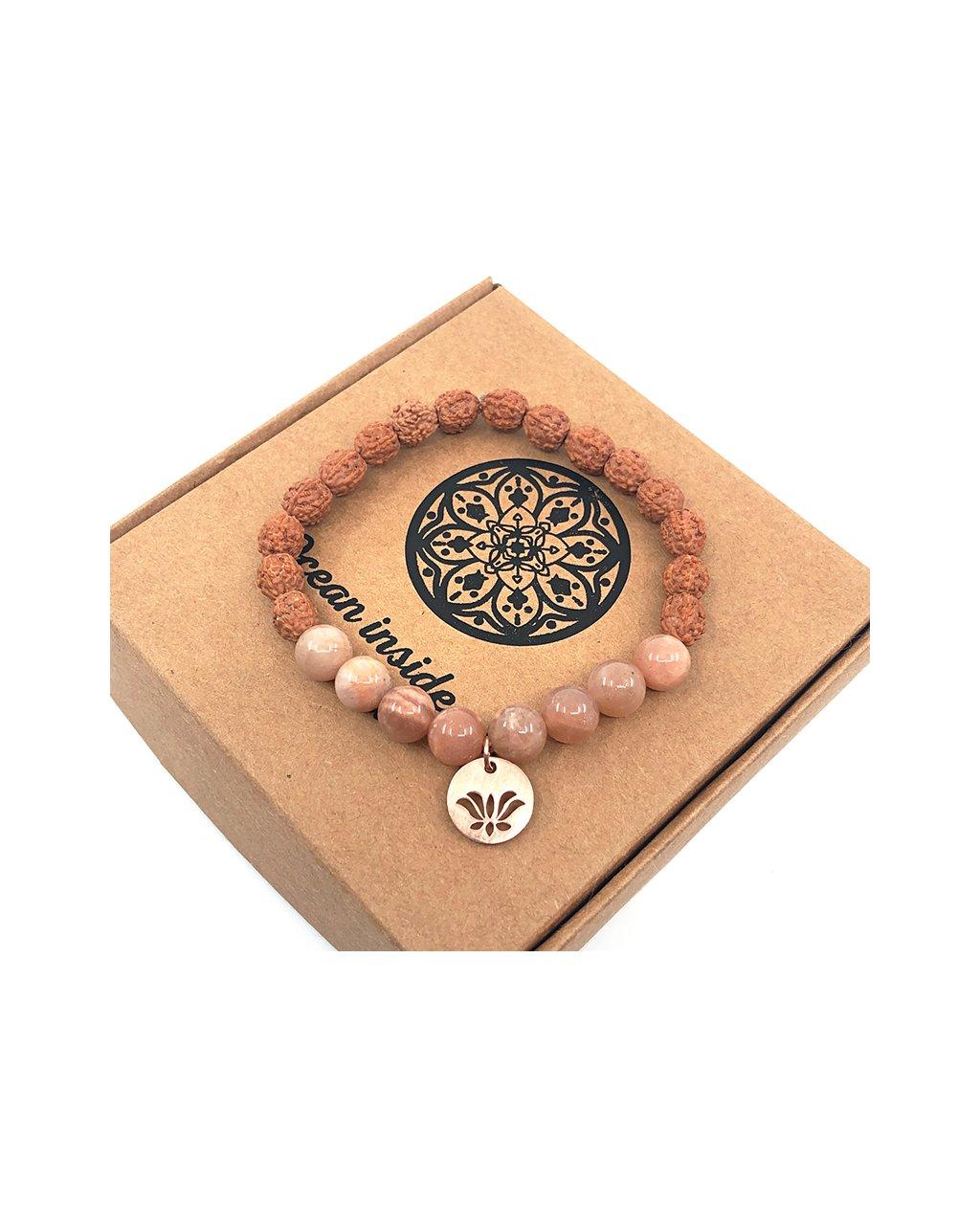 Náramek z minerálu sluneční kámen, rudraksha a květ lotosu