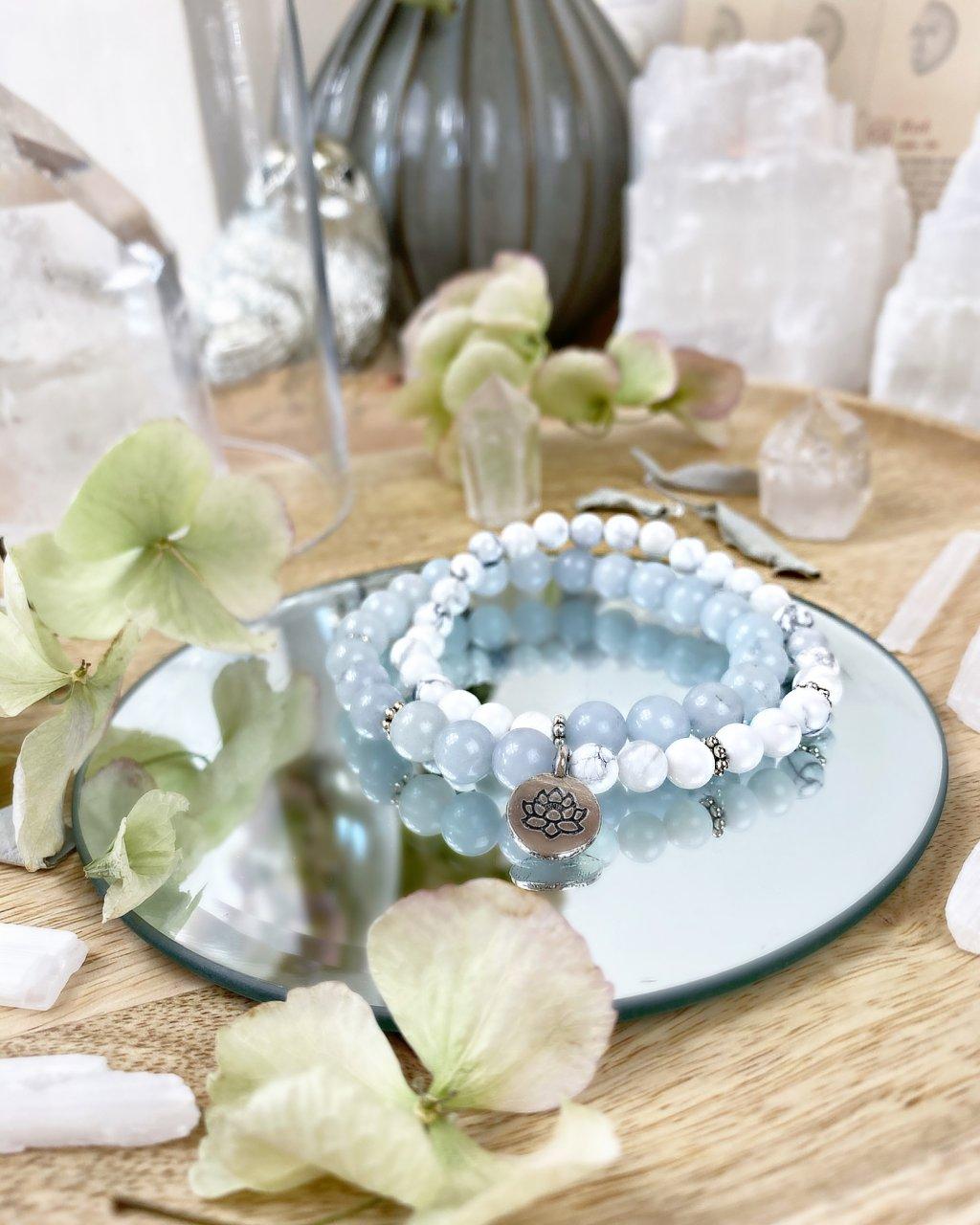 Meditační wrap z minerálů jadeit modrý a howlit