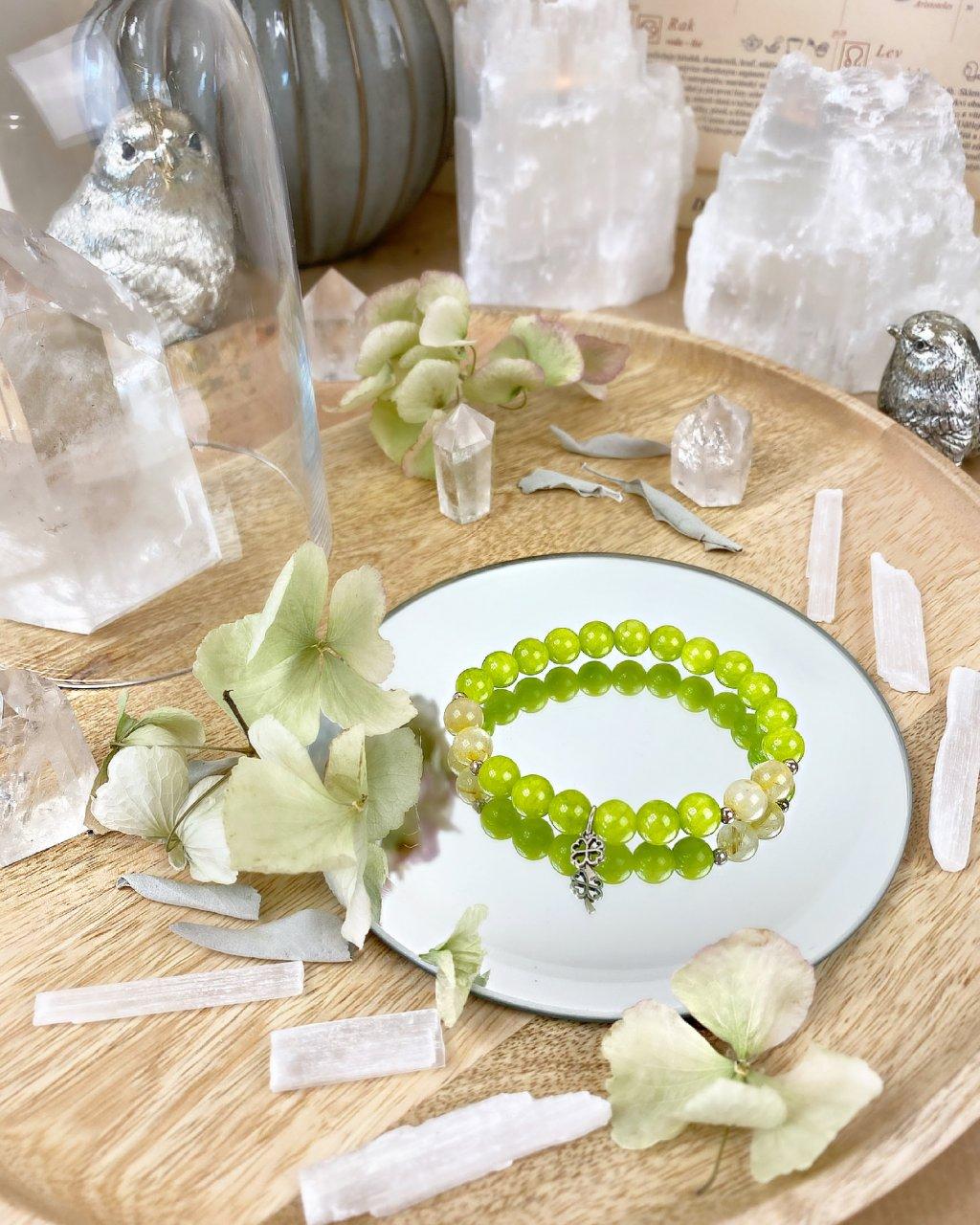 Náramek z minerálních kamenů citrín, jadeit zelený a čtyřlístek