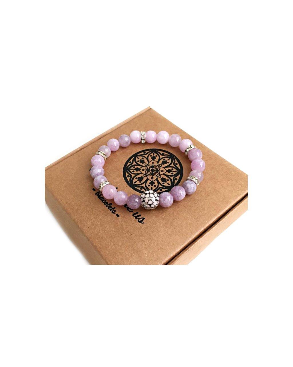 Náramek z minerálního kamene angelit a luxusní květinka