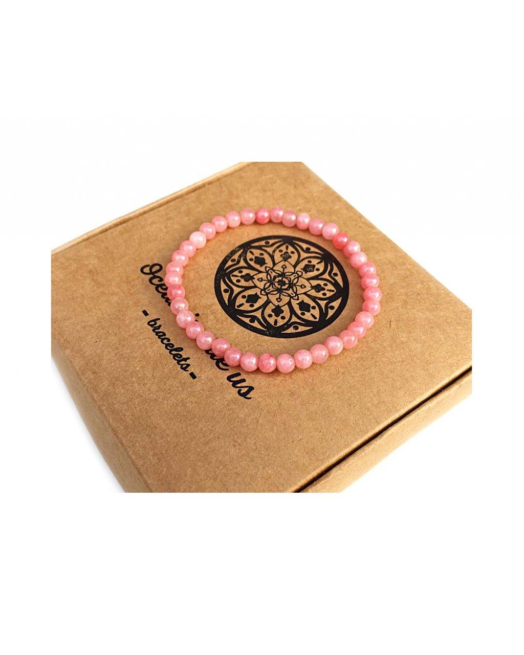 Náramek z minerálu jadeit růžový leštěný
