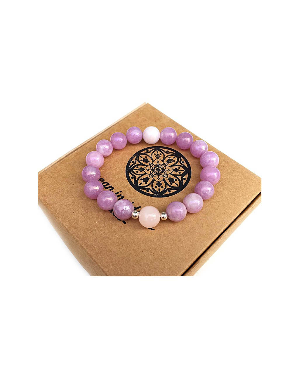 Náramek z minerálu jadeit fialový leštěný a korálek