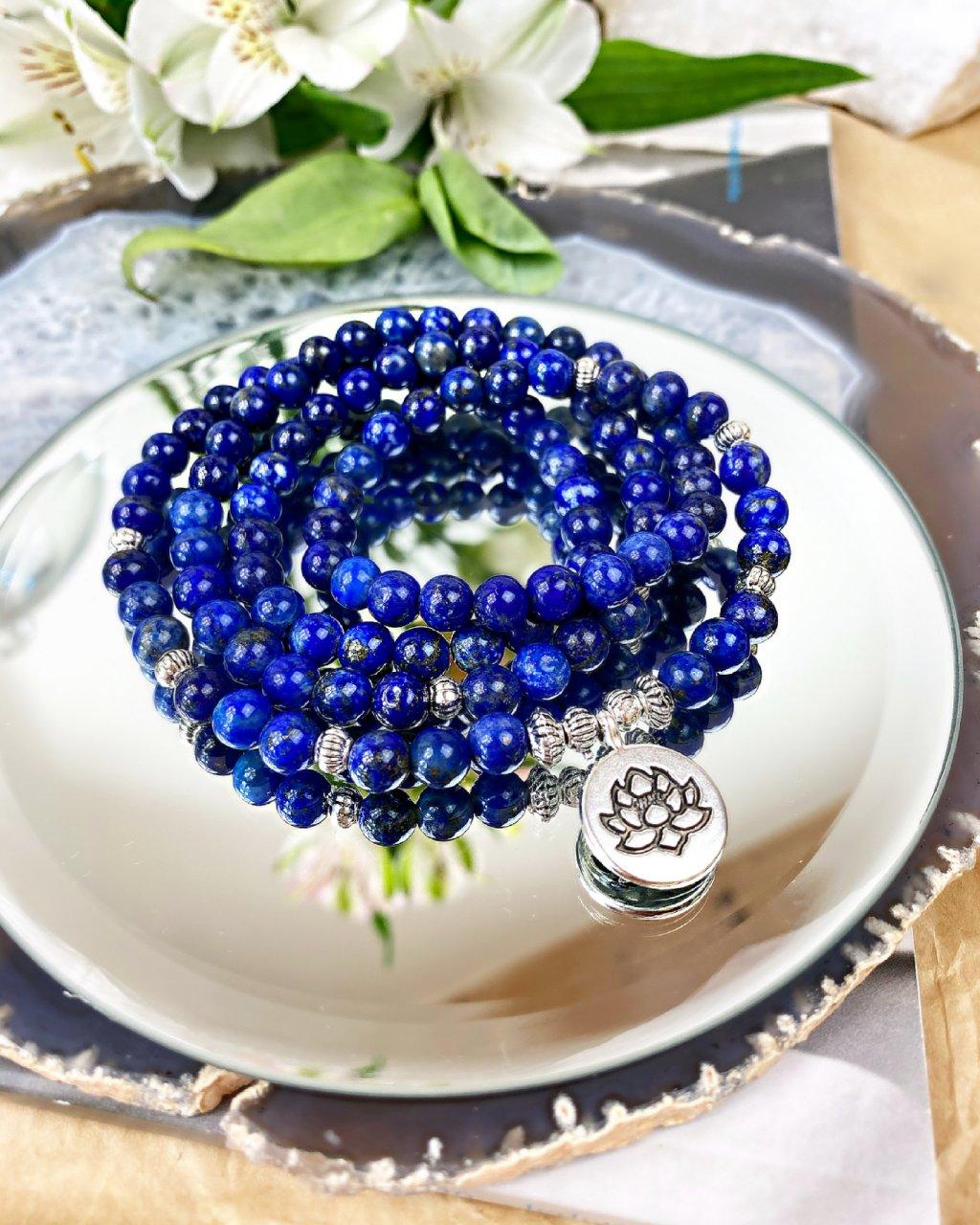 Dvojitý náramek z minerálů wrap lapis lazuli a květ lotosu