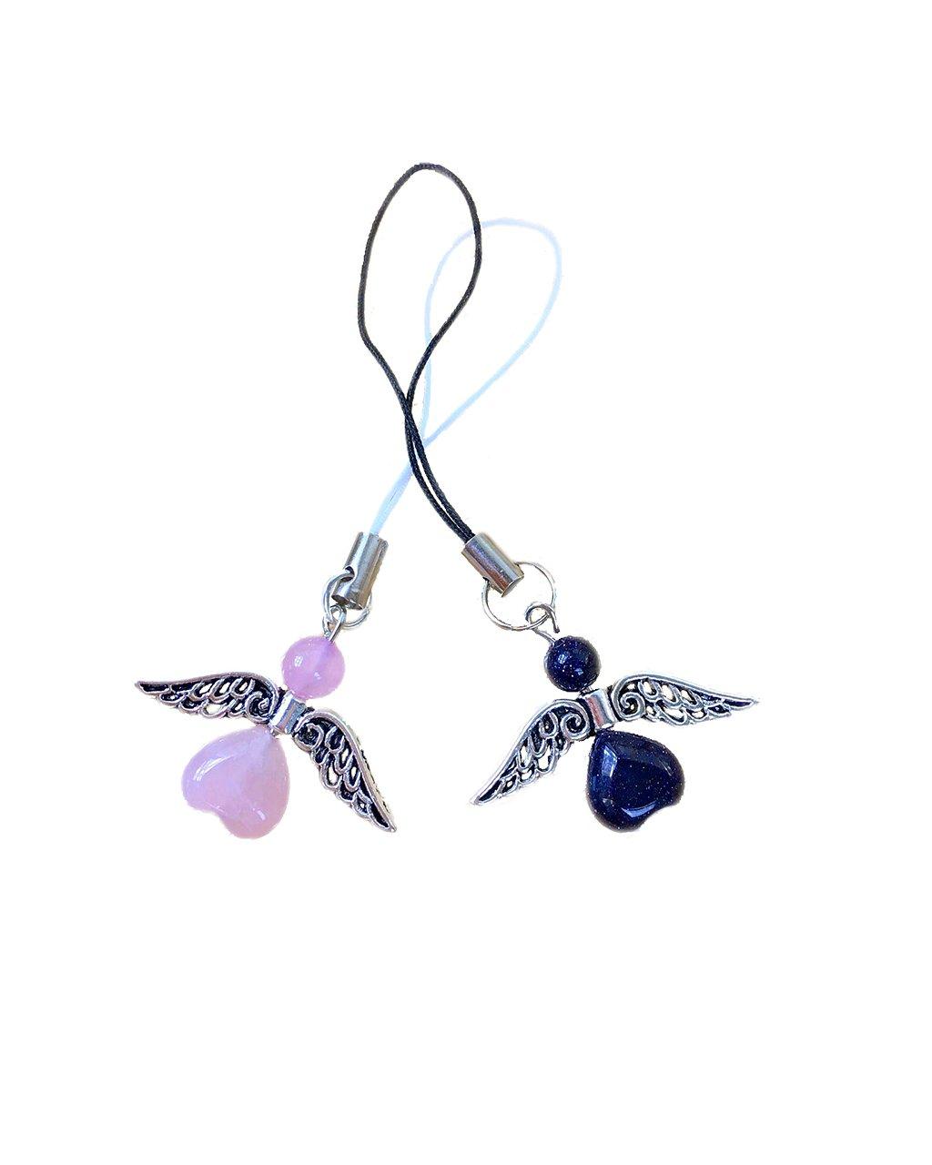 Přívěšek na klíče andílek párový růženín a lapis lazuli