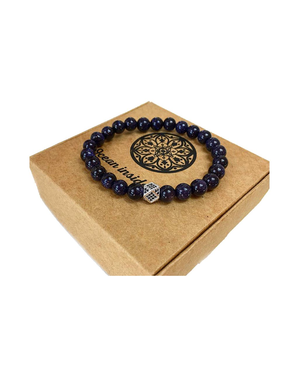 Pánský náramek z minerálu lapis lazuli a luxusní kostka