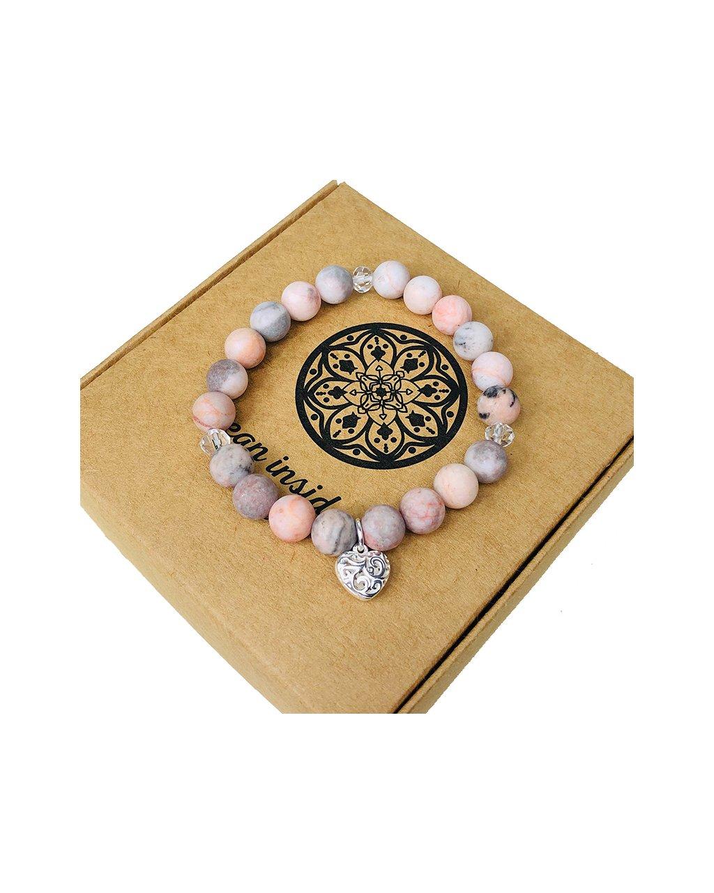 Luxusní náramek z polodrahokamu jaspis růžový zebrovaný a jemné srdíčko