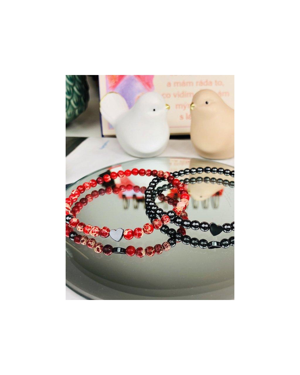 Náramky pro páry červený jaspis a hematit 4mm