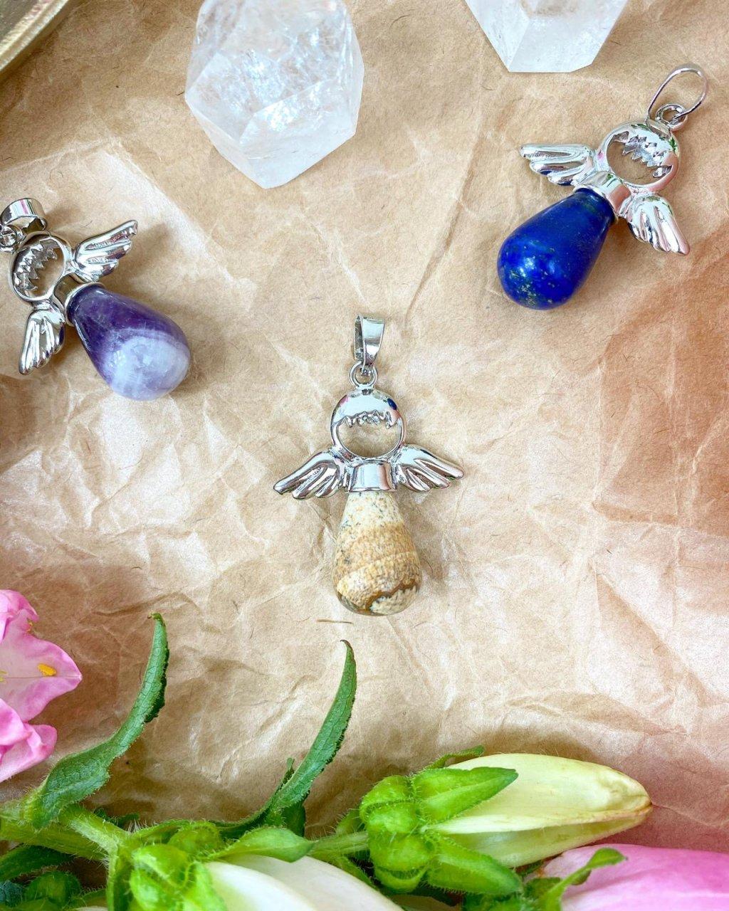 Přívěšek andílek na klíče pro štěstí z jaspisu