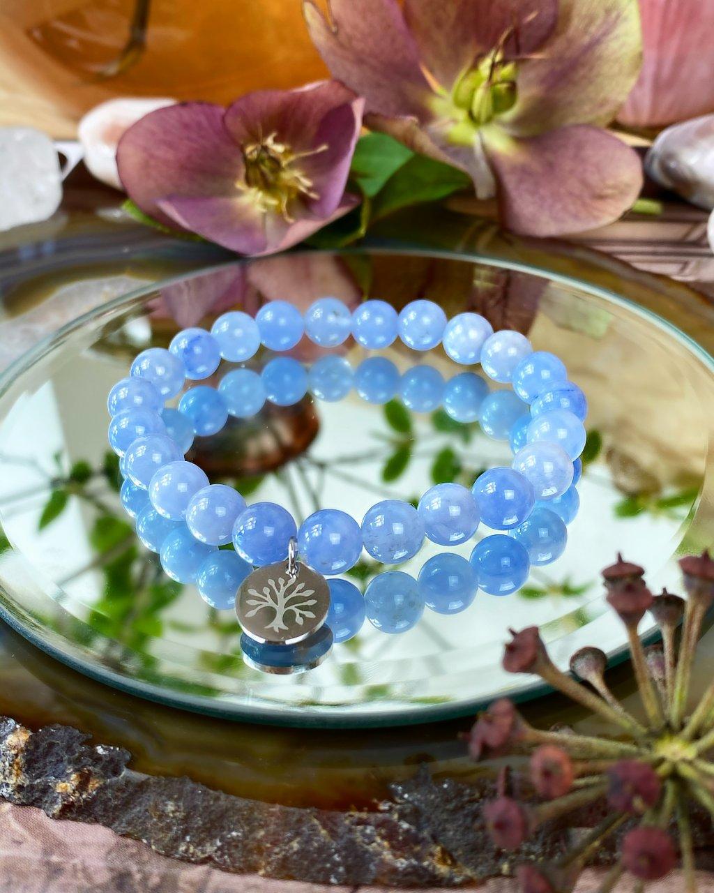 Náramek z minerálu angelit modrý a strom života