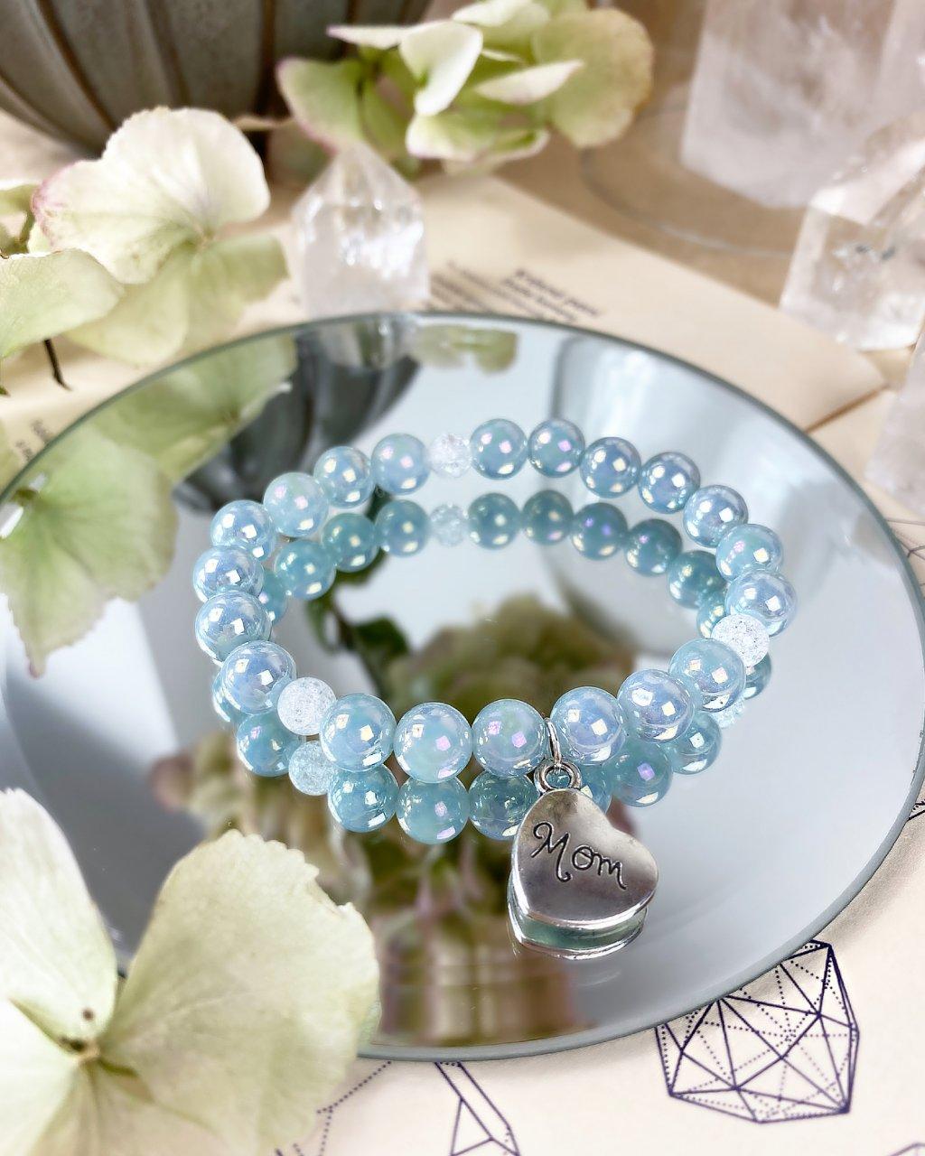 Náramek pro maminku z minerálů angelit modrý a praskaný křišťál
