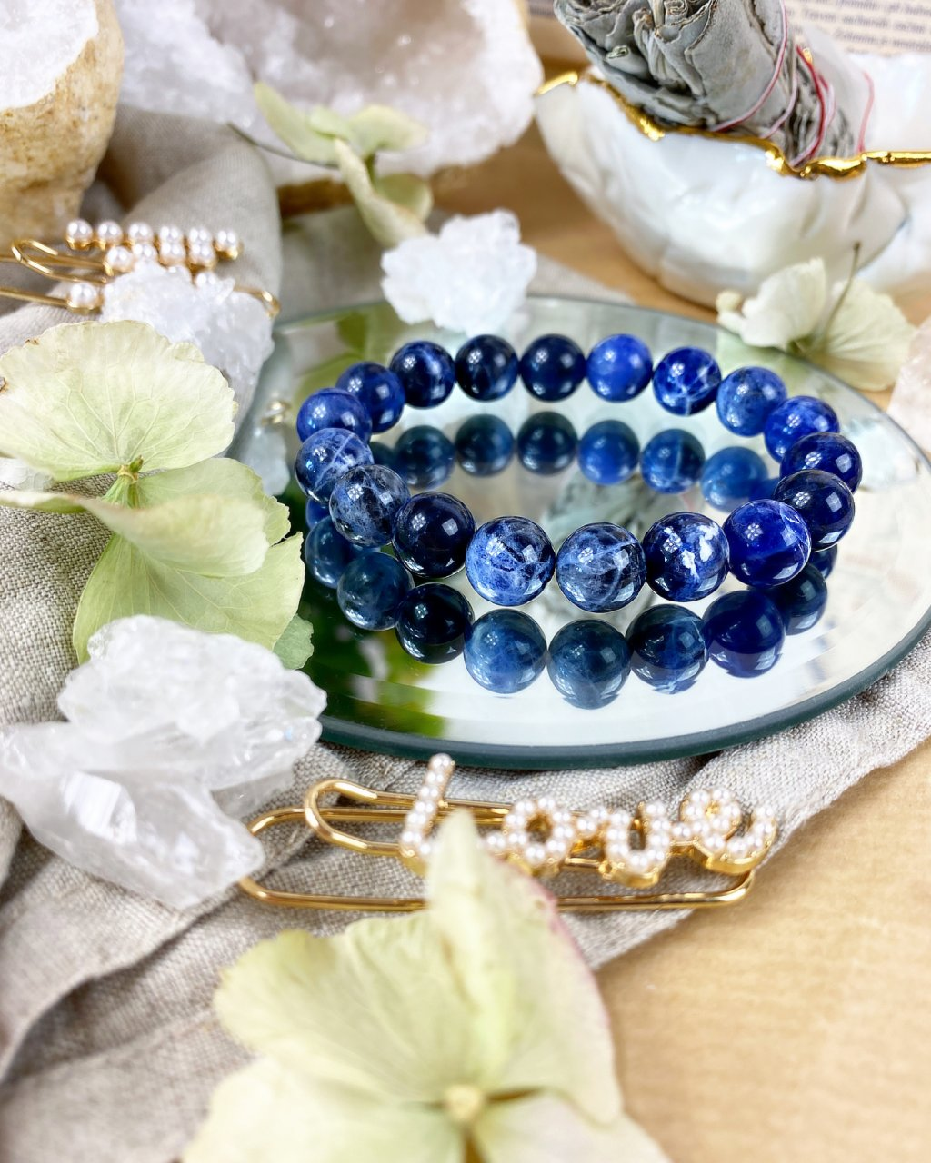 Luxusní náramek z minerálu modrý sodalit AAA kvalita 10mm