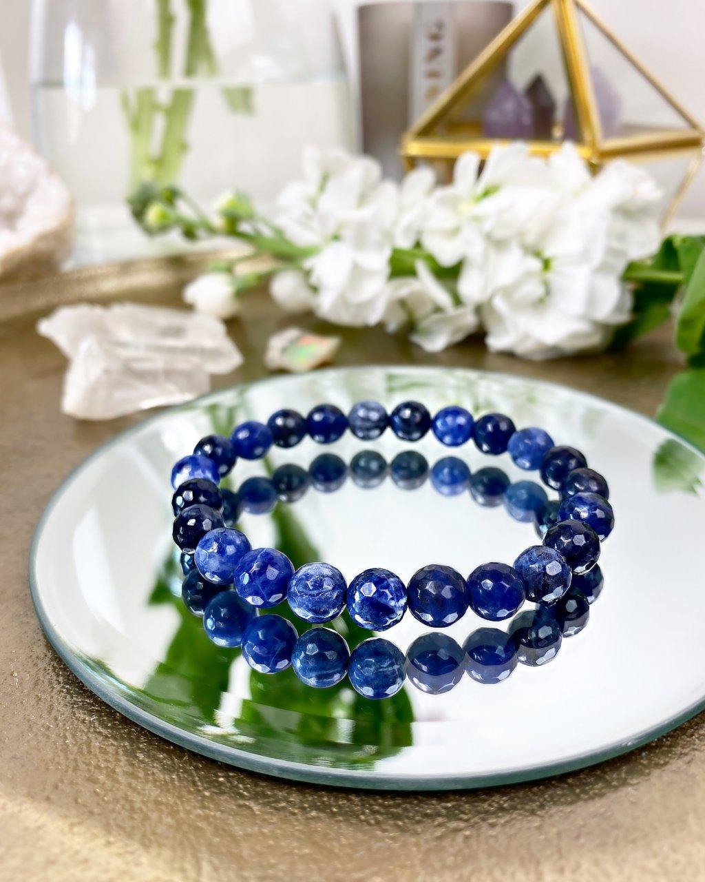 Luxusní náramek z minerálu modrý sodalit fazetovaný AAA kvalita
