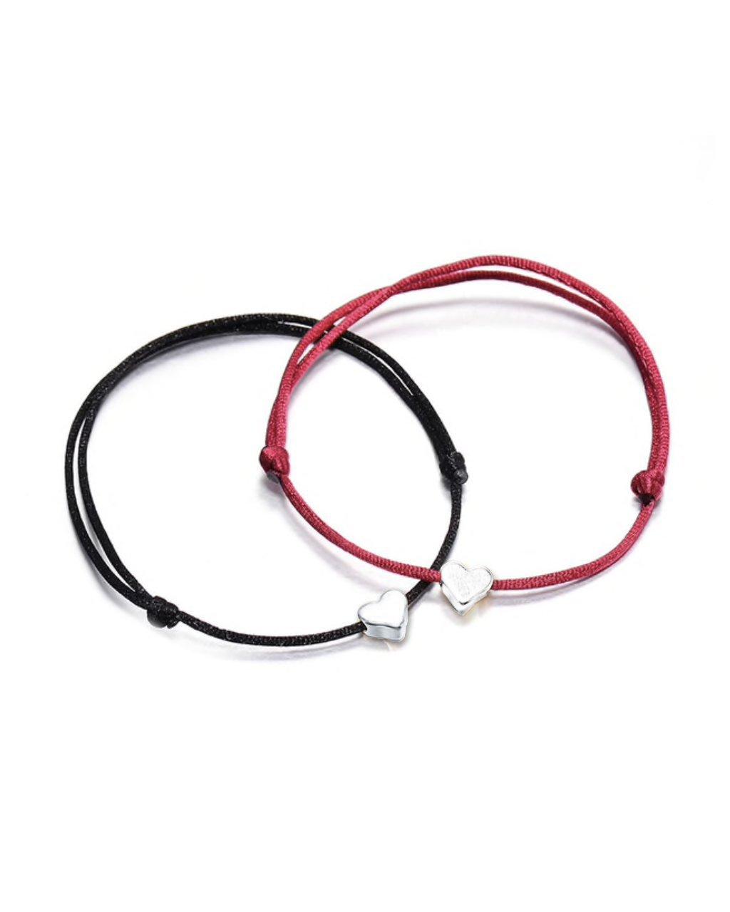 jemny provazkovy naramek parovy srdicka cervena cerna