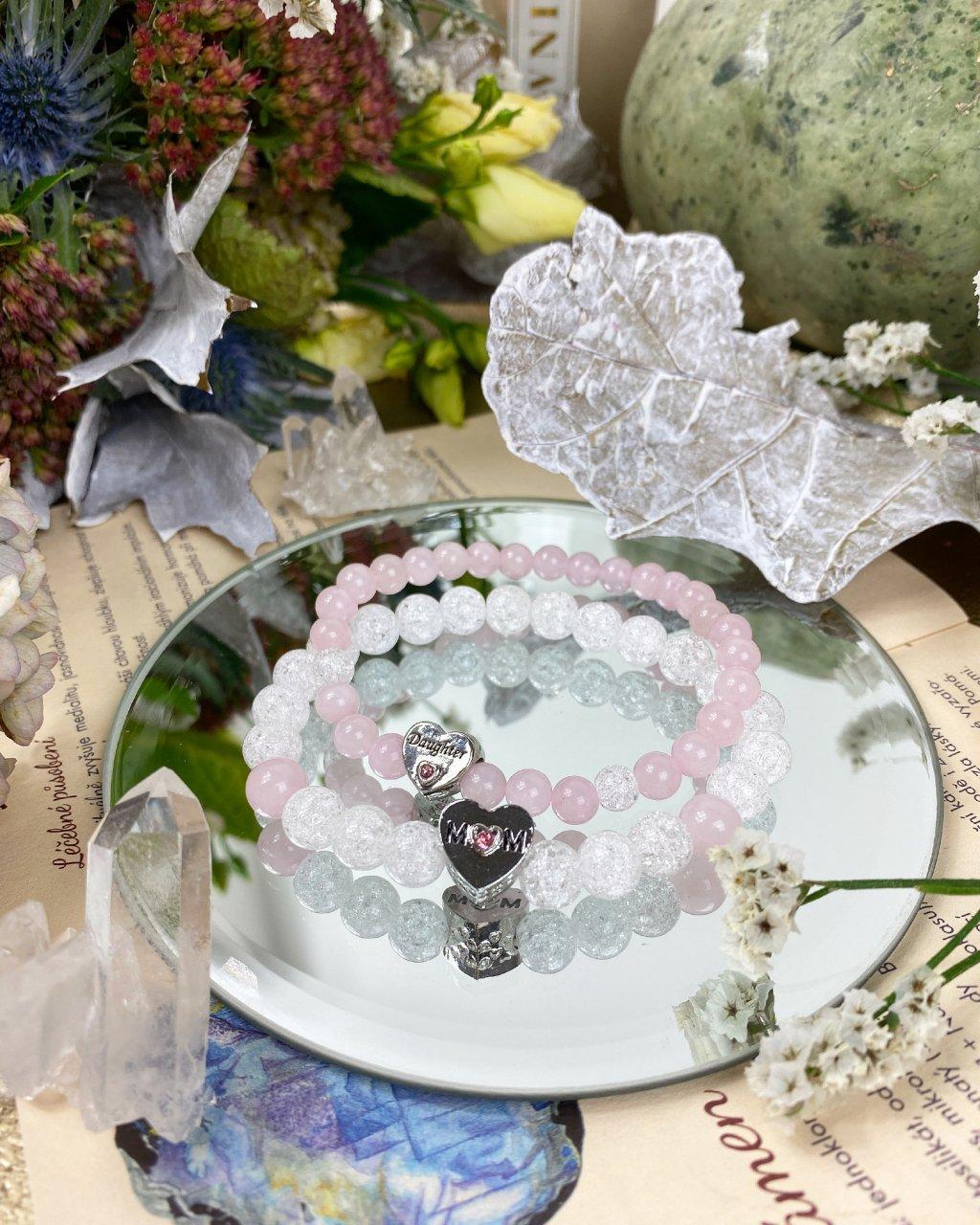 Náramky z minerálů máma a dcera křišťál a růženín