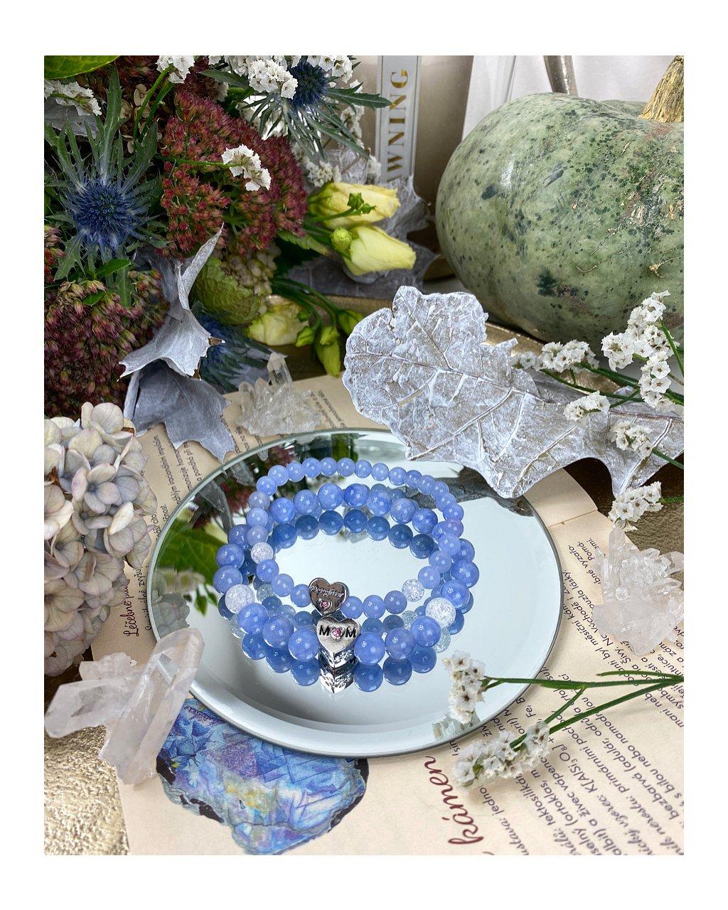 Náramek pro maminku a dceru z kamene angelit modrý