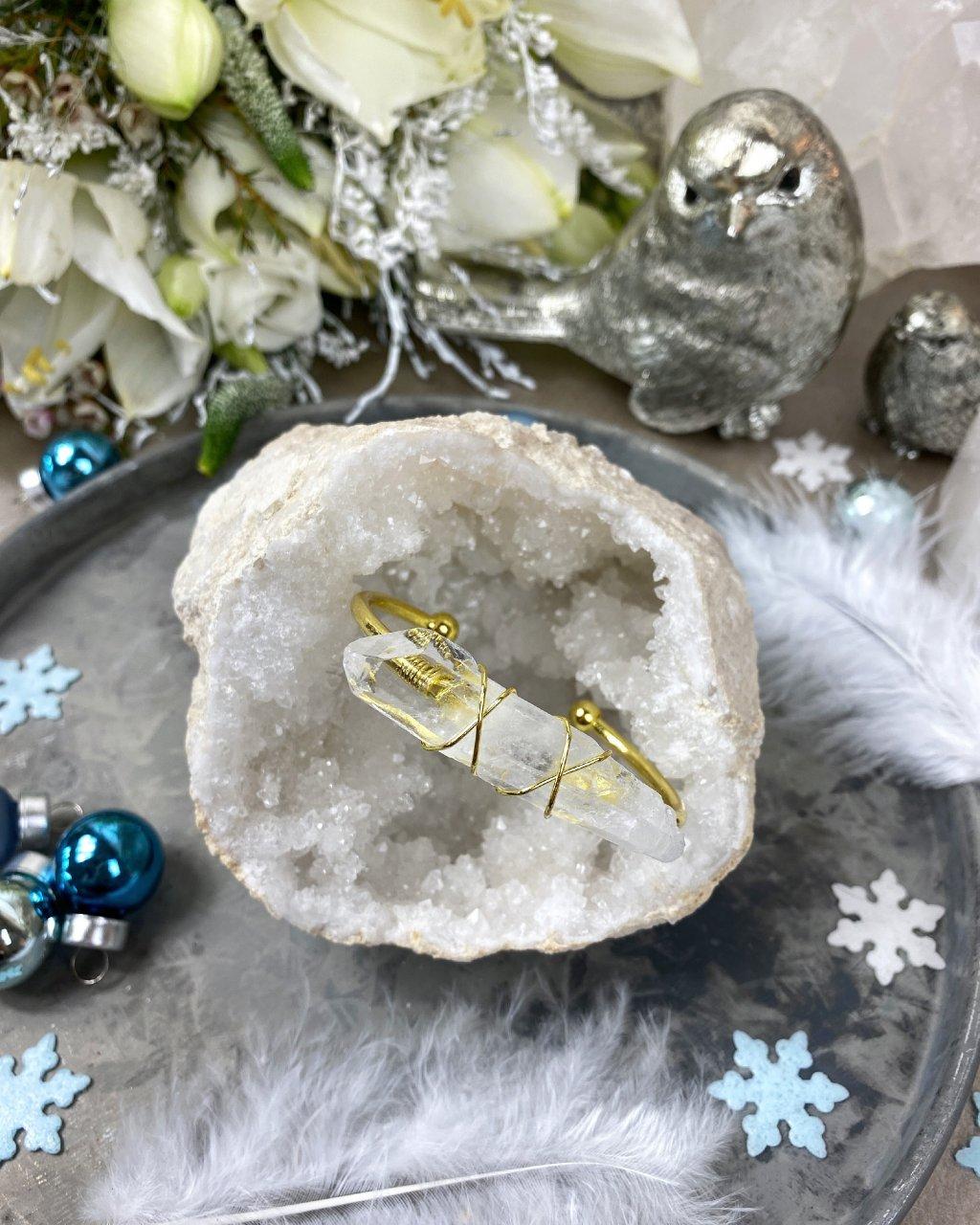 Luxusní náramek s krystalem křišťálu v barvě zlaté