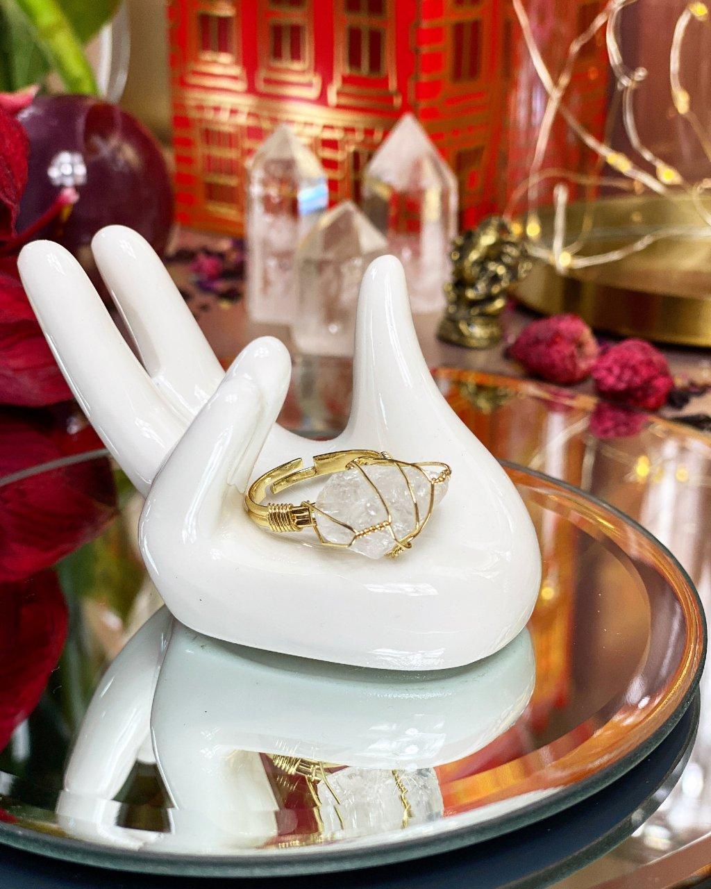 Dámský prstýnek s krystalem křišťálu barva gold