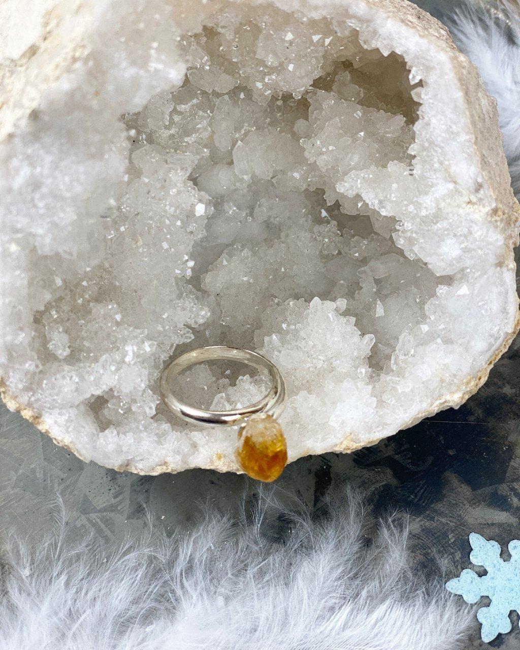 Dámský prstýnek s krystalem citrínu silver