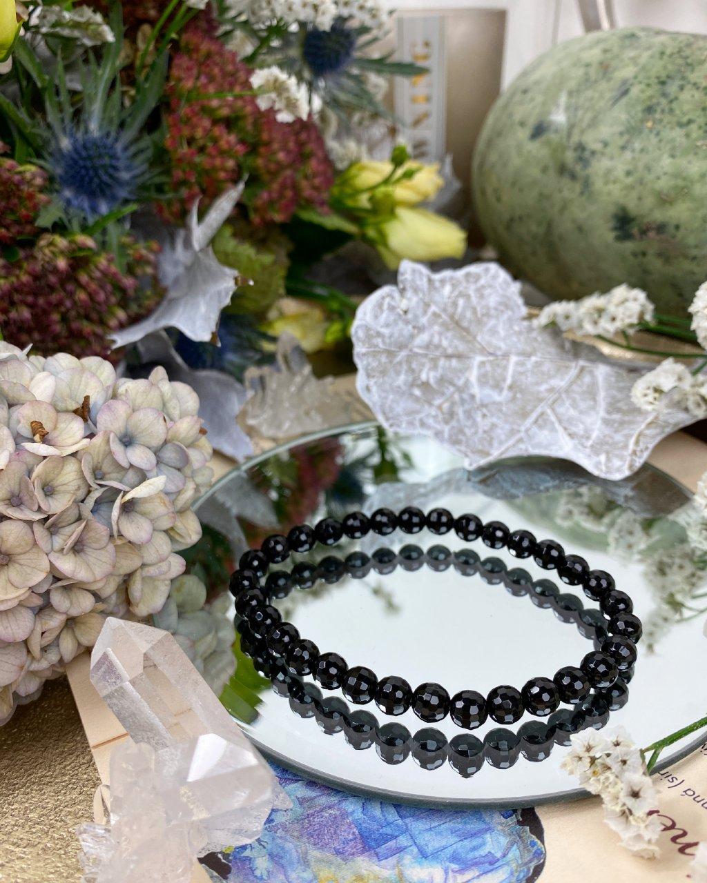 Luxusní náramek z minerálu černý turmalín fazetovaný AAA
