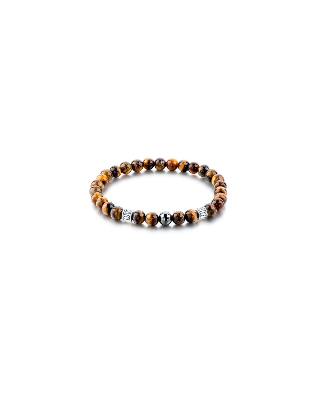 Minerální náramek tygří oko s černou perlou – úspěch a štěstí