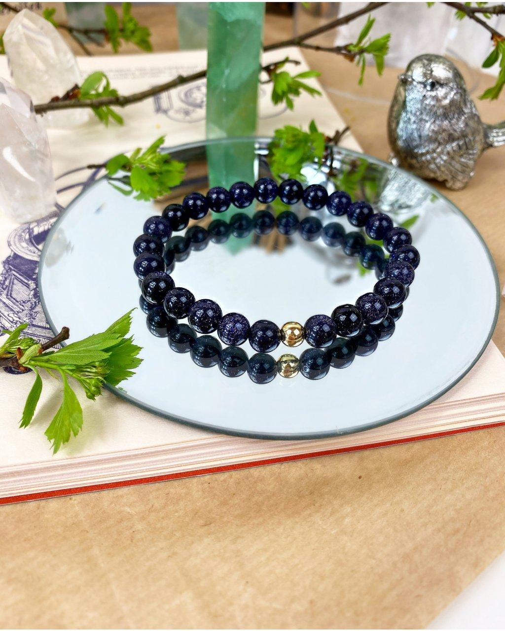 Náramek z minerálu tmavá modř lapis lazuli - zářící aura
