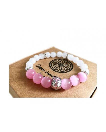 Náramek z minerálních kamenů růžový opál, mléčný křišťál a luxusní korálek