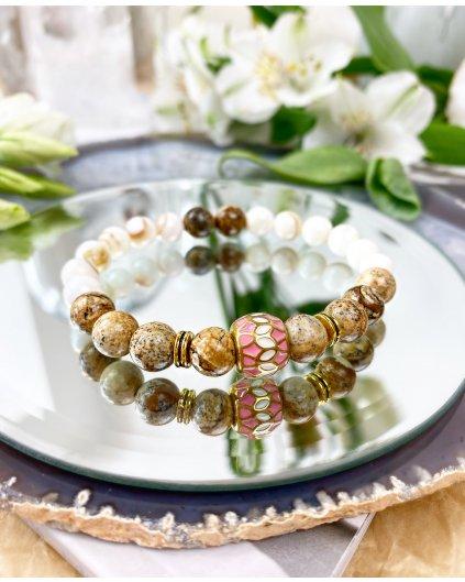 Náramek z minerálů hnědý achát, mléčný křemen a luxusní korálek