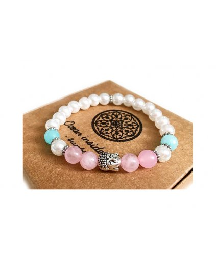 Buddha náramek z minerálů s perlami, růženínem a akvamarínem