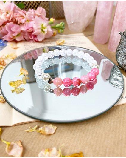 Náramek z minerálů praskaný křišťál, rodochrozit a perla