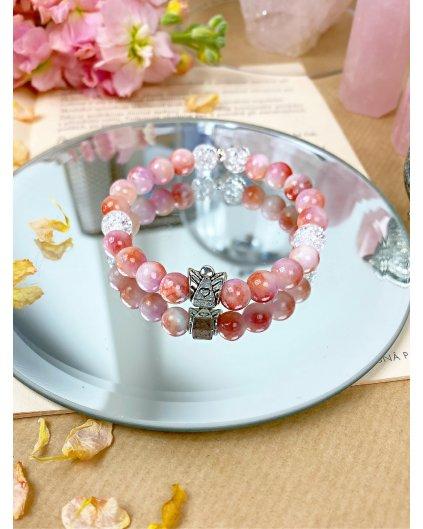 Náramek z minerálů andělský jadeit růžový s praskaným křišťálem