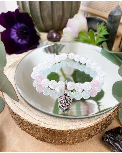Náramek z minerálů pro maminky s praskaným křšťálem a růženínem